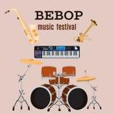 Grupo de instrumentos de música jazz do bebop, projeto liso do vetor Foto de Stock Royalty Free