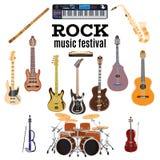 Grupo de instrumentos de música rock, projeto liso do vetor Imagem de Stock