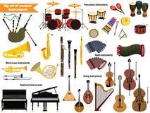 Grupo de instrumentos musicais ilustração stock