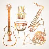 Grupo de instrumentos musicais Imagem de Stock