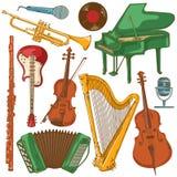 Grupo de instrumentos musicais coloridos isolados Fotos de Stock Royalty Free