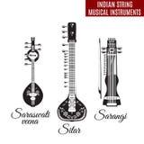 Grupo de instrumentos musicais da corda indiana preto e branco, estilo liso do vetor Fotografia de Stock