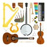 Grupo de instrumentos musicais do projeto liso moderno do vetor ilustração royalty free