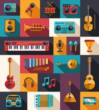 Grupo de instrumentos musicais do projeto liso moderno e Imagem de Stock Royalty Free