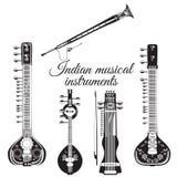 Grupo de instrumentos musicais indianos, estilo liso do vetor Imagens de Stock Royalty Free