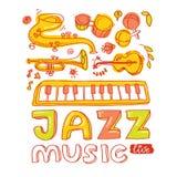 Grupo de instrumentos musicais: teclado, bongos, maracas, guitarra, trombeta, saxofone Foto de Stock Royalty Free