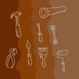 Grupo de instrumentos no estilo da garatuja Fotografia de Stock Royalty Free