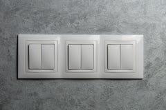 Grupo de interruptores blancos Imagen de archivo