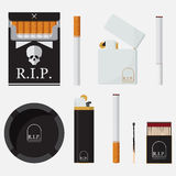 Grupo de isqueiros, de cigarros, de fósforo e de cinzeiro no projeto liso ilustração stock