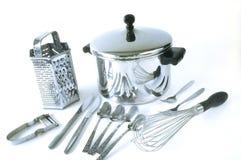 Grupo de items de la cocina del acero inoxidable fotos de archivo