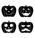 Grupo de JACK-O-LANTERN de abóboras preto e branco de Dia das Bruxas ilustração royalty free