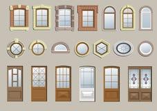 Grupo de janelas clássicas ilustração do vetor