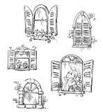 Grupo de janelas tiradas mão, ilustração do vetor ilustração royalty free