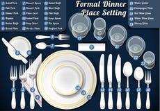 Grupo de jantar formal do ajuste de lugar Foto de Stock Royalty Free