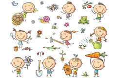 Grupo de jardinagem das crianças ilustração do vetor