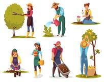 Grupo de jardinagem dos desenhos animados ilustração do vetor