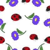 Grupo de joaninhas e de flores Imagens de Stock Royalty Free