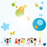 Grupo de jogo dos miúdos ilustração do vetor