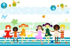 Grupo de jogo dos miúdos ilustração royalty free