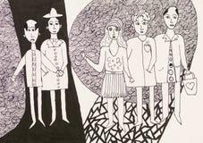 Grupo de jovens, desenho da pena Imagens de Stock