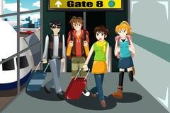 Grupo de jovens que viajam junto ilustração do vetor