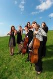 Grupo de juego de los violinistas que se coloca en hierba Foto de archivo
