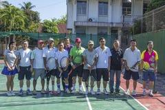 Grupo de jugadores de tenis Imagen de archivo libre de regalías