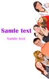Grupo de juventude com texto do molde Imagem de Stock Royalty Free