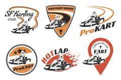 Grupo de kart que compete emblemas, logotipo e ícones Imagens de Stock Royalty Free