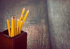 Grupo de lápis amarelos no suporte do lápis Fotografia de Stock Royalty Free