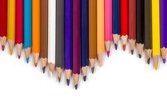 Grupo de lápis coloridos na forma de onda Imagens de Stock