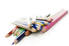 Grupo de lápis da cor Fotografia de Stock Royalty Free