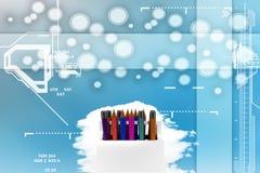 Grupo de lápis na ilustração do suporte Foto de Stock Royalty Free