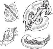Grupo de lâminas réptil-estilizadas ilustração royalty free
