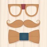Grupo de laço de madeira dos vidros do bigode dos acessórios Fotografia de Stock Royalty Free