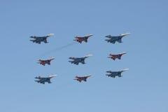 Grupo de la aviación en desfile Imagenes de archivo