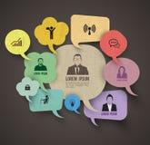Grupo de la burbuja del discurso con los iconos del negocio Imagen de archivo libre de regalías