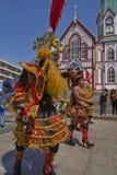 Grupo de la danza de Morenada en Arica, Chile Imagen de archivo libre de regalías
