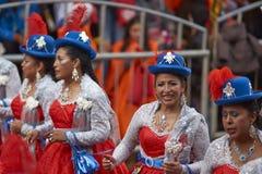 Grupo de la danza de Morenada en el carnaval de Oruro en Bolivia foto de archivo libre de regalías