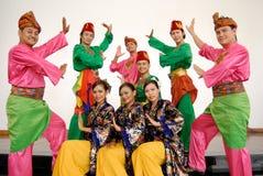 Grupo de la danza tradicional del Malay Imagen de archivo