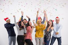 Grupo de la danza y del partido de gente asiática Imagen de archivo