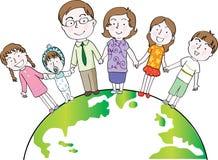 Grupo de la familia en vector de la tierra