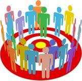 Grupo de la gente de la comercialización apuntada en blanco Foto de archivo libre de regalías