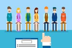 Grupo de la gente del candidato del negocio del finger del punto de la mano del curriculum vitae del control del reclutamiento libre illustration