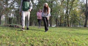 Grupo de la gente joven que camina dos pares al aire libre, amigos que hablan la mañana Autumn Park almacen de video