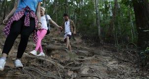 Grupo de la gente de la raza de la mezcla en alza en Forest Walking Together Downhill, turistas que emigran el día de fiesta metrajes