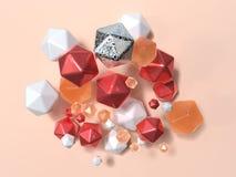 Grupo de la levitaci?n geom?trica anaranjada blanca roja 3d de la forma rendir escena abstracta stock de ilustración