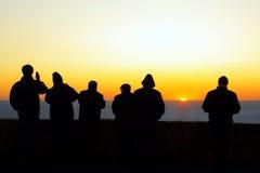 Grupo de la puesta del sol Foto de archivo libre de regalías