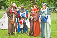 Grupo de la repromulgación del campo de batalla en el castillo de Brodie Fotos de archivo libres de regalías