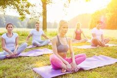 Grupo de la yoga que hace ejercicio de la relajación Fotografía de archivo